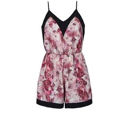 ABSTRACT PRT STRAPPY PLAYSUIT ($25) ❤ liked on Polyvore featuring jumpsuits, rompers, playsuits, dresses, floral rompers, playsuit romper, flower print romper, purple romper and floral romper