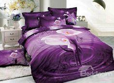 Natural Cotton super Queen Size Duvet Quilt Cover Set Bedding Set A Purple Bedding, Floral Bedding, Floral Pillows, Home Decor Bedroom, Bedroom Furniture, Bedroom Ideas, Beautiful Bedding Sets, 3d Bedding Sets, Water Printing