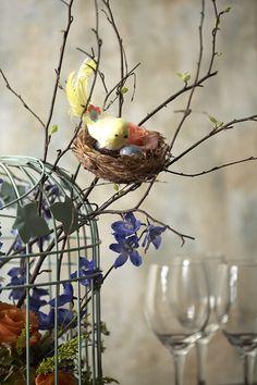 Bird cage with fresh flower arrangement & birch branches where a little bird has built her nest of straw!