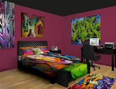 I 39 ve always thought graffiti was so cool looking and this for Graffiti style bedroom designs