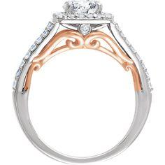 14kt White & Yellow 1/2 CTW Diamond Semi-mount Engagement Ring for 5.8mm Round Center   Stuller