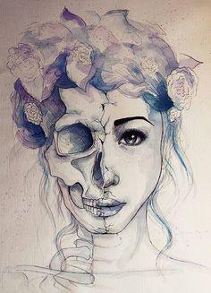 half face half skull - Google Search