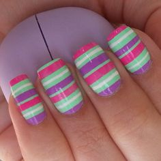 Green mint pastel nails with bright pink, purple & white stripes, scotch tape technique, easy free hand nail art