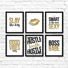 Gold Glitter Office Art Collection! Create an instant gallery wall in your home office with these stylish printables! Quick and easy office decor for entrepreuers and boss babes! Both 8x10 and 16x20 sizes are included! Instant download by Studio 120 Underground, $15.