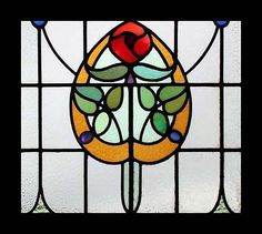 MACKINTOSH ROSE ANTIQUE STAINED GLASS WINDOW STUNNING & RARE