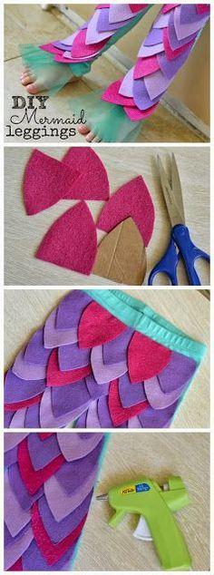 DIY Mermaid Leggings No Sew Tutorial - Perfect for a costume or dress up #mermaid #costume #DIY Disney Princess little Mermaid