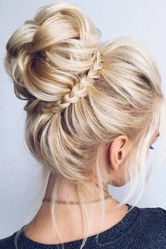 34 beautiful braided wedding hairstyles for the modern bride - updos - Hochzeitsfrisuren-braided wedding updo-Wedding Hairstyles Medium Length Hairstyles, Bob Hairstyles, Trendy Hairstyles, Modern Haircuts, Braids For Medium Length Hair, High Bun Hairstyles, African Hairstyles, Hairdos, Blonde Hair Styles Medium Length