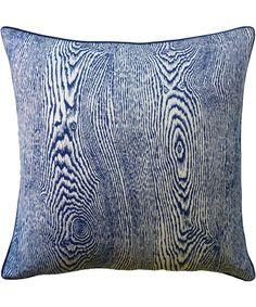 Faux Bois Pillow Indigo 1