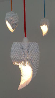 3D origami lamp shades.