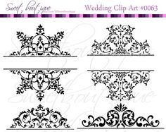 Vintage Calligraphy Clip Art Clipart DIY Wedding Invitation Designs Scrapbook Embellishment Text Dividers Digital Frame 0003  Wedding Digital