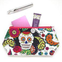 Sugar Skull Cosmetic Bag Large Cosmetic Bag Skull Bag Day