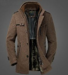 @proulxjustice  Mens Extra Thick Slim Fleece Wool Blazer Dual Standup Collar Coat Winter Jacket Graceful Grey BrownCN079 Fabric Content: Wool. Colors:Grey Brown or | Raddest Men's Fashion Looks On The Internet: http://www.raddestlooks.org