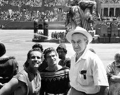 "Charlton Heston, Stephen Boyd and director William Wyler during filming of ""Ben-Hur"" 1959"