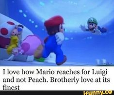I love how Mario reaches for Luigi and not Peach. Mario Y Luigi, Super Mario And Luigi, Super Mario Art, Super Mario Brothers, Super Mario Memes, Funny Relatable Memes, Stupid Funny Memes, Haha Funny, Video Games Funny