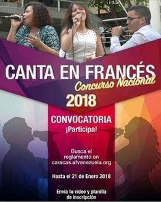 Via  @alianzafrancesabarquisimeto  Canta en Francés!  Demuestra tu talento en el #ConcursoNacional  Participa! Envía tu video y planilla de inscripción antes del próximo 21 de enero 2018 #alliancefrançaise #ConsursoNacional