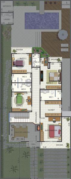 Projeto de sobrado de 4 quartos com 266,09m²