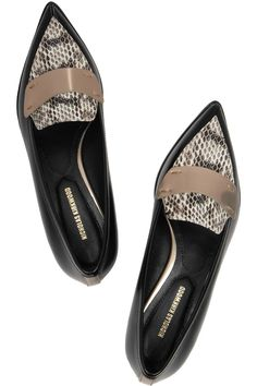 Handmade Heel measures approximately 1 inch Black and beige leather, brown and cream elaphe Metallic heel trim from Nicholas Kirkwood Dream Shoes, Crazy Shoes, Me Too Shoes, Shoe Boots, Shoes Sandals, Nicholas Kirkwood, Pointy Toe Flats, All About Shoes, Shoe Art