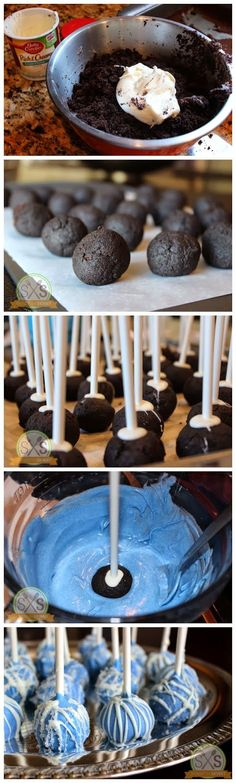 Everyone loves those Oreo-based cake balls—why not make them bright blue and covered in icicles for a Frozen inspired event?