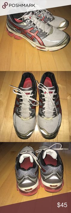 Asics men's red and grey gel-cumulus 13 Men's size 12 red and grey asics gel-cumulus 13. Fast shipping. Come from smoke free home. Bundle to save. Asics Shoes Sneakers