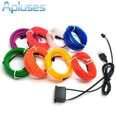1 mt/2 mt/3 mt/5 mt 6mm Nähen Rand Neon Licht Dance Decor Licht neon flexible el draht seil rohr led-streifen mit 5 v usb stecker