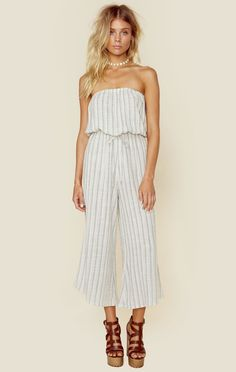 BELL JUMPER :: The Bell Jumper by Blue Life features a pretty pastel stripe print throughout, strapless silhouette, cinched waist, and a wide midi length leg.