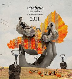 vitabella_voeux_2011 by nicolosko, via Flickr  I like this collage because of the oddness of it, like with the corkscrews as heads. The color scheme with the oranges and gray catches my eye too.