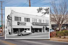 Dating to the 1920s, the Alhambra Building has been home to various Tulsa businesses, including the hardware and appliance stores pictured in this 1959 photo (inset). Two restaurants, an art gallery and a design studio are located there today.