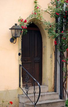 Doorway With Lamp And Flowers by Bachspics, via Flickr