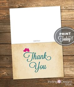 Thank You Card, Bridal Shower, Love, Birds, Pink, Magenta, Fuchsia, Teal, Rustic, Printable File (Custom order, INSTANT DOWNLOAD) by InvitingDesignStudio on Etsy