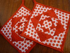 Red and White Square in a Square Quilted by SugarHillEnterprises