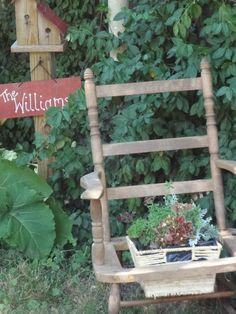 old rocking chair as planter