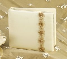 Guest Book, Ivory Satin Champagne Beaded Trim