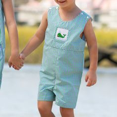 The Boys Nantucket Whale Smocked Shortall is a classic style for boys. Features blue and green gingham and custom whale smocking. Fully lined. Team Gifts, Whale Watching, Nantucket, Smocking, Gingham, Classic Style, Boy Or Girl, Tank Man, Rompers