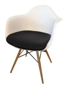Nowoczesne krzesło inspirowane DAW z poduszką  Designerskie krzesło nawiązujące do nowoczesnego projektu DAW. Wykonane z odlewu polipropylenowego i wykończone stylowymi nogami z litego drewna.