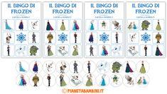 Cartelle e dischi per l'estrazione del bingo di Frozen