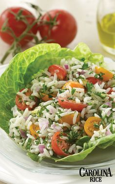 Parsley and Tomato Salad made with gluten-free Carolina Rice