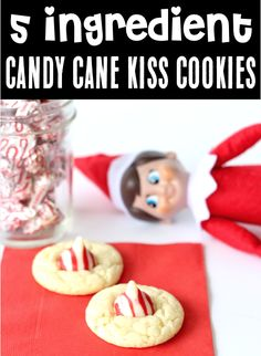Candy Cane Thumbprint Cookies Recipe! Cake Mix Cookies are always fun, and these tasty little treats will disappear as fast as you can make them! Plus... with just 5 ingredients, they're as easy-as-can-be! Go grab the recipe and give them a try this week! Kiss Cookie Recipe, Cake Mix Cookie Recipes, Kiss Cookies, Cake Mix Cookies, Yummy Cookies, Christmas Desserts, Christmas Treats, Christmas Recipes, Fun Desserts