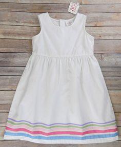 NWT Hanna Andersson Girls Dress White Gross Grain Ribbon Bottom Size 120 6/7 #HannaAndersson #Dress #DressyEveryday