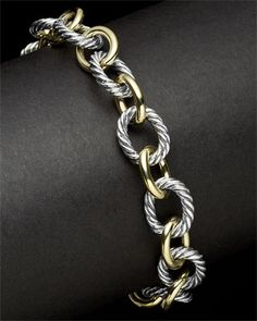 David Yurman Silver & 18K Link Bracelet @Linda Reiser-Nichols Jewelers