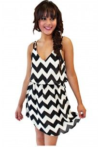Time For A Picnic Chevron Dress In Black