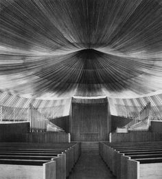 Unitarian Meeting house 1964 by Victor Lundy  So curious what the ceiling is made of.