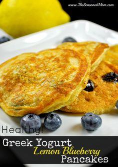 Healthy Greek Yogurt Lemon Blueberry Pancakes on MyRecipeMagic.com #breakfast #healthy #pancakes