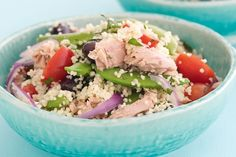 As the weather starts to warm up, there is nothing better than a fresh, tasty salad. We particularly love this Tuna and Cous Cous Salad.