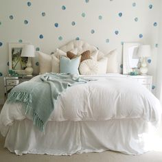 Watercolor polka dots wall decals add the look of a custom-painted wall to any room. Add a playful yet chic feeling to a nursery with polka dot wall stickers. Polka Dot Wall Decals, Polka Dot Walls, Vinyl Wall Stickers, Polka Dots, Girl Room, Girls Bedroom, Bedroom Decor, Bedrooms, New Room