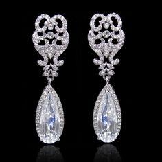 High Quality Bridal Floral Drop Dangle Earring Rhinestone Crystal Clear Zircon #DropDangle