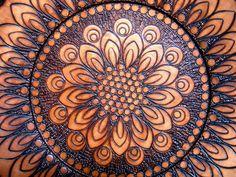 Floral Mandala Burned Design Wooden Plate. via Etsy.