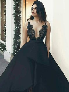 Prom Dress For Teens, A-Line Scalloped-Edge Asymmetry Black Satin Prom Dress with Lace, cheap prom dresses, beautiful dresses for prom. Best prom gowns online to make you the spotlight for special occasions. Lace Evening Dresses, Elegant Dresses, Evening Gowns, Beautiful Dresses, Prom Dresses, Long Dresses, Formal Dresses, Sexy Dresses, Summer Dresses