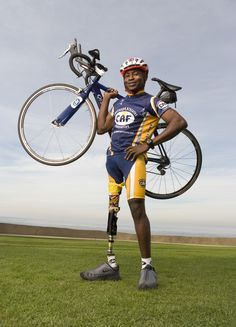 """Emmanuel Ofosu Yeboah -- Challenge: Born with a deformed leg in Ghana, Africa - a society where the physically disabled are abandoned shunned from their community. Perseverance: To change his society's perceptions, he pedaled a bike donated by CAF for 379 miles around Ghana using only his left leg.  The acclaimed documentary """"Emmanuels Gift"""" inspires thousands. He is also the winner of Nike's Casey Martin Award and the prestigious 2005 ESPN Arthur Ashe Courage Award."""