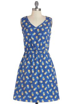 Perfect Pina Coladas Dress - Blue, Novelty Print, Pockets, Casual, Fruits, A-line, Sleeveless, Better, V Neck, Woven, Mid-length, Yellow