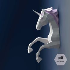 Unicorn Papercraft, 3D Papercraft - Build Your Own Low Poly Paper Sculpture from PDF Download (DIY gift, Wall Decor for home and office) by OXYGAMI on Etsy https://www.etsy.com/au/listing/274930046/unicorn-papercraft-3d-papercraft-build